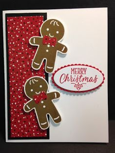"I found a fun card to make on Pinterest. I LOVE gingerbread boys and this card caught my eye. I used the ""Cookie Cutter Christmas"" stamp..."