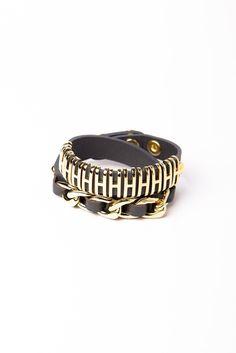 Chunky Leather Wraparound Bracelet