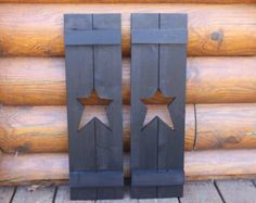 Primitive star shutters. Set of 2. by TrammellsWoodworking on Etsy