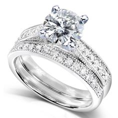 Shop for Annello by Kobelli White Gold 2 TGW Moissanite and Diamond Antique Style Bridal Rings Set. Get free delivery On EVERYTHING* Overstock - Your Online Jewelry Store! Moissanite Bridal Sets, Moissanite Diamonds, Bridal Ring Sets, Bridal Rings, Bridal Jewelry, Diamond Wedding Sets, Do It Yourself Fashion, Bridesmaid Jewelry Sets, Vintage Diamond