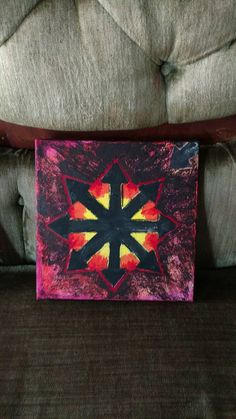 Hey, I found this really awesome Etsy listing at https://www.etsy.com/listing/293306231/chaos-star-mixed-media-painting-on