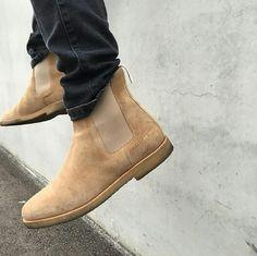 Beige Chelsea boots  Follow @filetlondon for more street wear #filetlondon