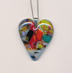 Colorful Fused Glass Heart Pendant by Glassfuser on Etsy, $25.00