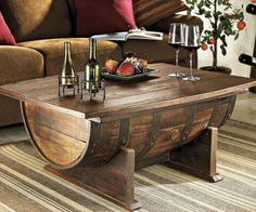 Creative Wooden Barrel Coffee #Table - 7 DIY Old Rustic Wood Furniture Projects | DIY Recycled