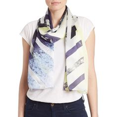 Vince Camuto Silk Abstract Scarf ($19) ❤ liked on Polyvore featuring accessories, scarves, blue, vince camuto scarves, silk shawl, blue scarves, pure silk scarves and silk scarves