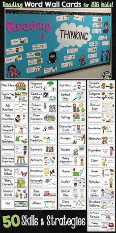 Support students' reading with visual WORD WALL cards! 50 reading skills & strategies; perfect for a word wall, bulletin board, interactive notebooks or at your guided reading table!