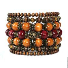 """Купить Браслет """"ВИШНЯ с КОРИЦЕЙ"""" - комбинированный, коричневый, вишневый, бордовый, бежевый, деревянный браслет"""