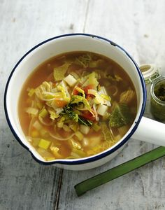 This light and summery soup makes the most of springtime vegetables, don't forget a dollop of pesto on top.