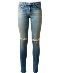 Rag & Bone Blue Washed Skinny Jeans ($125) ❤ liked on Polyvore featuring jeans, pants, bottoms, pantalones, cut skinny jeans, skinny fit jeans, rag bone jeans, blue wash jeans and blue jeans