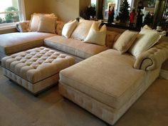 small living room furniture oversized sectional sofa beige color ottoman