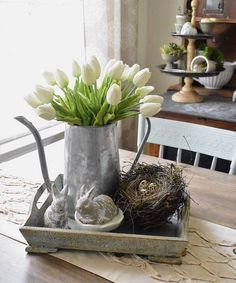 Hare, nests and tulips – oh my! Have you seen what's new … # spring decoration Decoration Christmas, Diy Easter Decorations, Holiday Decor, Easter Centerpiece, Diy Osterschmuck, Easy Diy, Deco Restaurant, Diy Ostern, Spring Home Decor