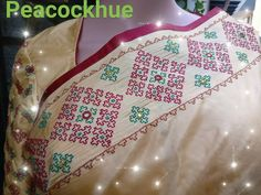 Kasuti Embroidery, Embroidery Saree, Indian Embroidery, Hand Embroidery Designs, Embroidery Stitches, Choli Blouse Design, Blouse Designs, Kutch Work Designs, Saree Border