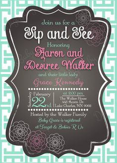 Printable Chalkboard Baby Shower Sip and See by DigiBabyDesign