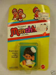 Vintage 80s Monchhichi Small Mini Mascot Toy Figure. Made by Mattel. http://www.ebay.com.au/itm/MONCHHICHI-Monchichi-80s-Vintage-1981-Toy-FIGURE-MOC-/160501174110?pt=AU_Toys_Hobbies_Character_Toys=item255e9d8f5e