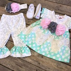 """""""How adorable is this?! Come get your baby girl spring ready with us!  #hautebaby #SummerSizzle #tunic #set- $69.99 (12M- 4T) Shoes- $20 (2&3, crawling stage) Bow- $7.99 We #ship! Call to order! 903.322.4316 #shopdcs #goshopdcs #shoplocal #love"""" Photo taken by @daviscountrystore on Instagram, pinned via the InstaPin iOS App! http://www.instapinapp.com (01/12/2016)"""