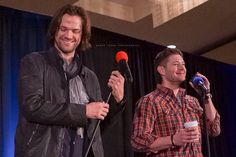 Our boys <3 J2 at SFCon2015 Gold Panel #Jensen Ackles #SFCon 2015 #Jared Padalecki
