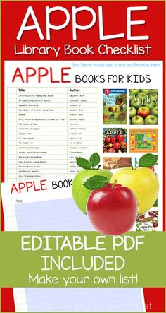 Apple Books for Kids with an Editable PDF Library Checklist - create your own book list! Apple Activities, Learning Activities, Create Your Own Book, Apple Theme, Apple Seeds, Apple Books, Library Programs, Preschool At Home, Tot School