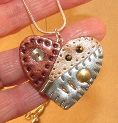 Polymer Clay Steampunk HEART Necklace One of a by RozPetalzStudio