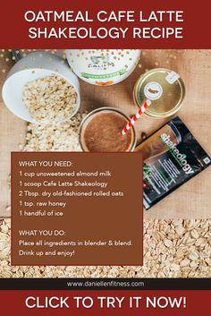 Enjoy this Oatmeal Cafe Latte Shakeology. Enjoy this Oatmeal Cafe Latte Shakeology Recipe to start you - Breakfast Smoothie Recipes, Best Smoothie Recipes, Protein Shake Recipes, Good Smoothies, Protein Shakes, Best Shakeology Recipes, Shakeology Flavors, Herbalife Recipes, Herbalife Shake