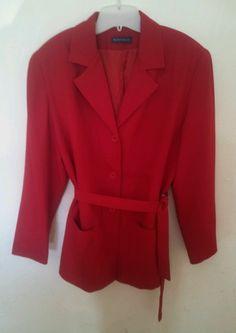 Karen Scott Red Blazer Jacket Tie Belt Button Plus Size Career Office Plus 14 1x #KarenScott #Blazer
