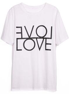 awesome tshirt. White Short Sleeve LOVE Print Cotton T-Shirt - Sheinside.com