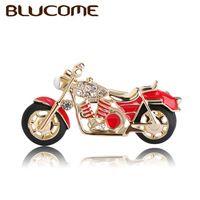 Blucome mode motorrad brosche gold-farbe rot emaille broschen mädchen kinder geschenke schmuck anzug kragen pullover zubehör pins