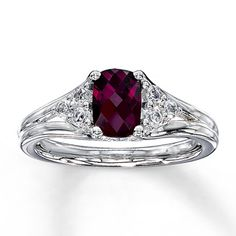 Rhodolite Garnet Ring With White Topaz Accents Sterling Silver Stock Number 491017808 Kay Jewelers