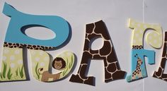 Custom wooden wall letters - Turquoise and yellow and jungle babies by MySweetDreamsArt on Etsy https://www.etsy.com/listing/71980695/custom-wooden-wall-letters-turquoise-and