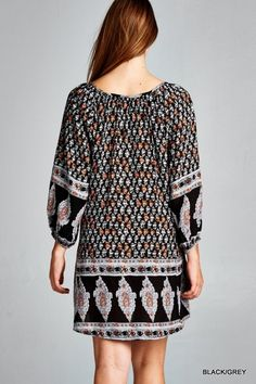 Ethnic Print Tunic Dress - Black/Grey - Knitted Belle Boutique  - 1