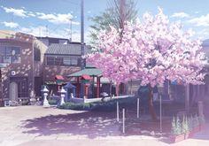 building cherry blossoms isou nagi nobody original scenic tree wallpaper background
