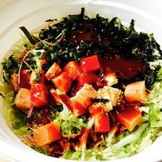 오늘 저녁은 마루회덮밥의 연어훈제덮밥이다!