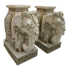 Pair of Elaborate Glazed Terracotta Elephant Garden Seats | From a unique collection of antique and modern stools at http://www.1stdibs.com/furniture/seating/stools/