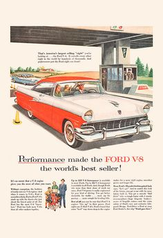 VINTAGE FORD AD Rockabilly Car Poster Ford by EncorePrintSociety