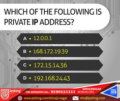 Which of the following is #private #IP address? #Quiz Update #iamjetking #iamjetkingshivajinagar #joinjetking