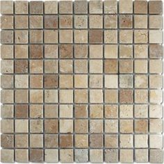 Antique White and Brown Tumbled Mosaic Tile