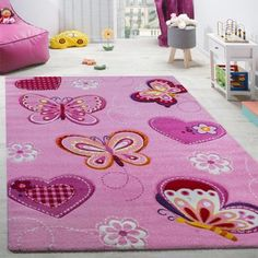 Size:80x150 cm Children Room Rug Pastel Colours Butterflies Check Pattern Spots Flowers Colourful