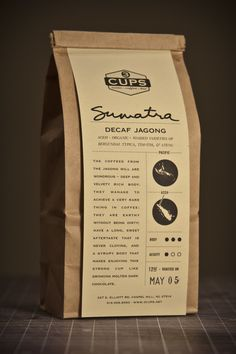 coffee packaging but something like this could be great on brown bag lunches to go--the paper could describe the details of the lunch