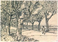 The Road to Tarascon by Vincent Van Gogh Drawing, pencil, pen, reed pen and ink Arles: July, 1888