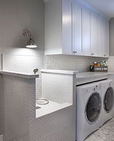 Laundry room with doggie shower.