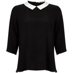 Frnch Collar Blouse (98 AUD) ❤ liked on Polyvore featuring tops, blouses, shirts, zip up shirt, long collar shirt, black top, collared shirt and long sleeve tops