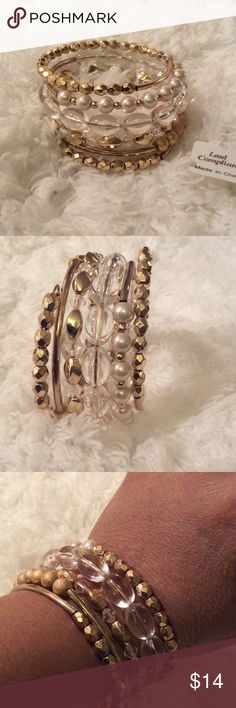 Gold Bead & Pearl Multi Bangle Bracelet NWT Multi Bangle Bracelet. Fits all sizes. JSB Jewelry Jewelry Bracelets