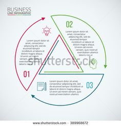 Thin line flat circle for infographic. Template for diagram, graph, presentation and chart. Business concept with 3 options, parts, steps or processes. Data visualization. - stock vector