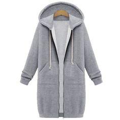 ZANZEA Winter Coats 2016 Fashion Women Long Hooded Sweatshirts Coat Casual Pockets Zipper Solid Outerwear Hoodies Jacket