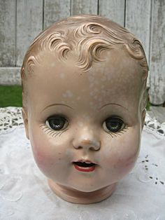Huge vintage doll head boy doll sleep eyes by LittleBeachDesigns, $20.00
