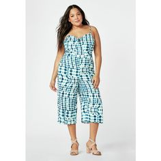 Justfab Jumpsuit & Rompers Culotte Jumpsuit (160 SAR) ❤ liked on Polyvore featuring plus size women's fashion, plus size clothing, plus size jumpsuits, blue, romper jumpsuit, justfab, playsuit jumpsuit, blue jumpsuit and blue jump suit