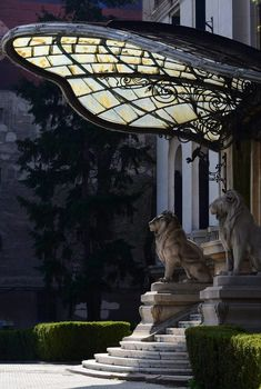 Lions at entrance of... ?