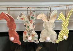 This adorable fabric Bunny Garland in earthy pastel colors is perfect for your Easter Decor! The bunting can be hung on a wall, over a window or doorway, and a fireplace mantel. It will add that special touch to your celebration.  Bunnies are constructed of 4 different cotton fabrics. The fabrics chosen are in earthy pastels such as cream, olive green, peachy tera cota, and multi floral. Backs of bunnies are made from warm and natural quilt batting. Each bunny is top stitched for a quilted…