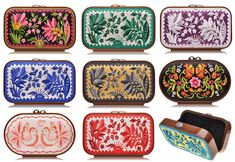 clutches designed by Katrin Langer. Produced in Germany using the same expertise and technical skills as musical instrument construction, each clutch starts with a makoré wood frame which eventually gets covered with beautifully intricate Quirky Fashion, Bold Fashion, Fashion Bags, Plum Pretty Sugar, Russian Fashion, Love Craft, Floral Illustrations, Clay Crafts, Clutch Wallet