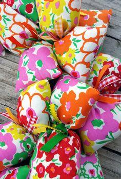 Bright Spring Flowers Fabric Handmade Fabric Wreath
