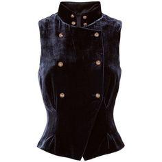 Intermix Women's Torrie Velvet Vest (20.820 RUB) ❤ liked on Polyvore featuring outerwear, vests, navy, vest waistcoat, velvet waistcoat, double breasted vest, navy blue vest and navy vests